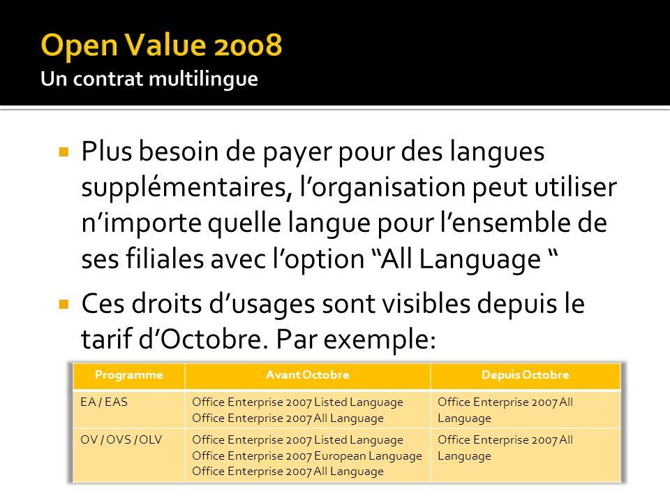 Plus besoin de payer pour des langues supplémentaires, lorganisation peut utiliser nimporte quelle langue pour lensemble de ses filiales avec loption