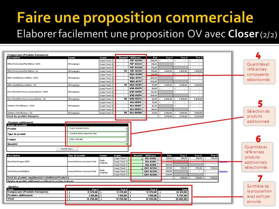 19 Quantités et références composants sélectionnés Sélection de produits additionnels Synthèse de la proposition avec split par annuité Quantités et r
