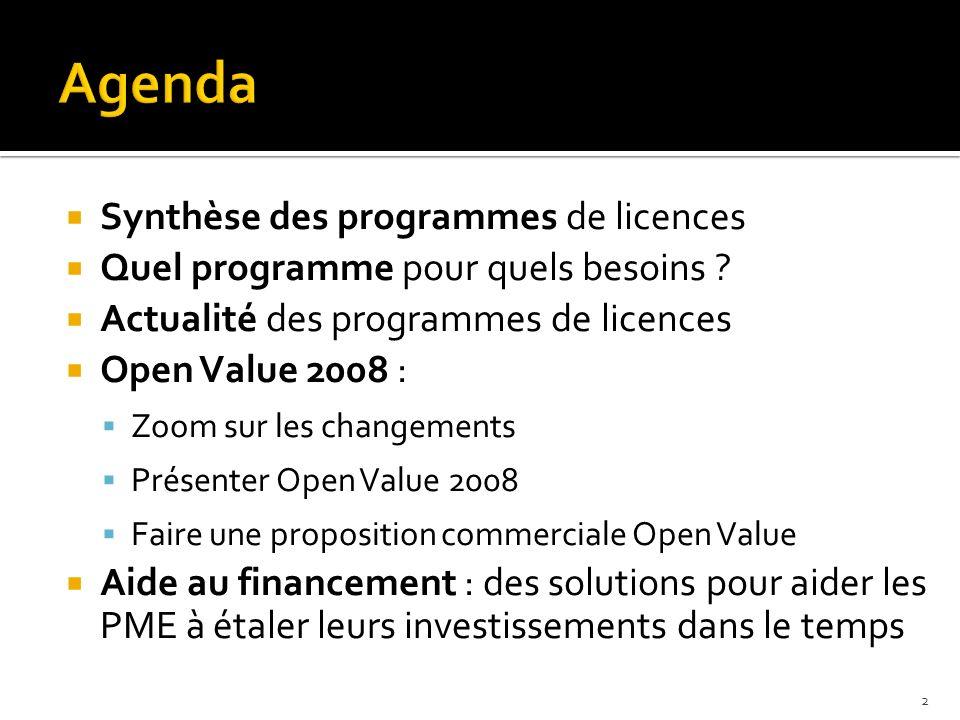 Synthèse des programmes de licences Quel programme pour quels besoins ? Actualité des programmes de licences Open Value 2008 : Zoom sur les changement