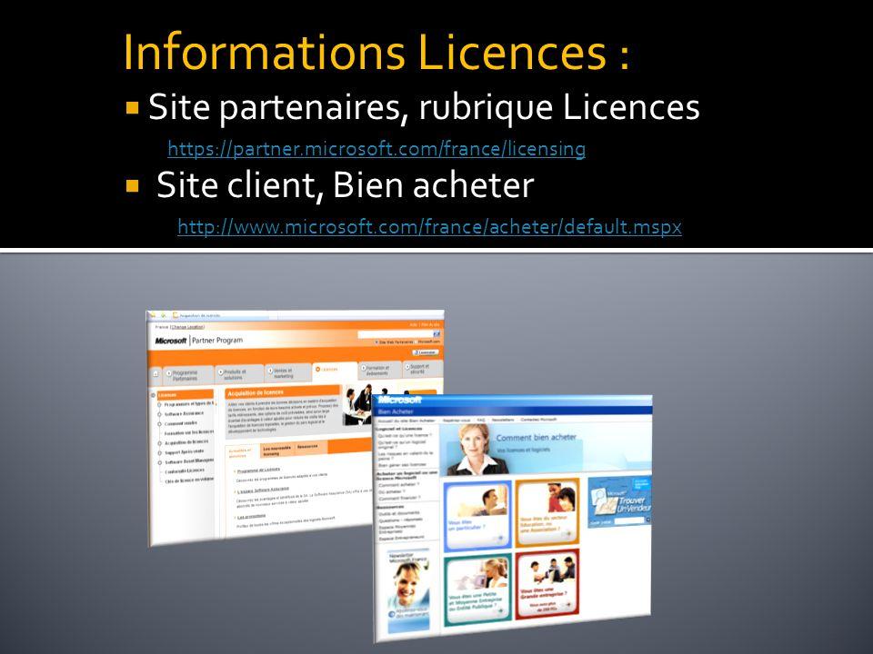 21 Informations Licences : Site partenaires, rubrique Licences https://partner.microsoft.com/france/licensing Site client, Bien acheter http://www.mic
