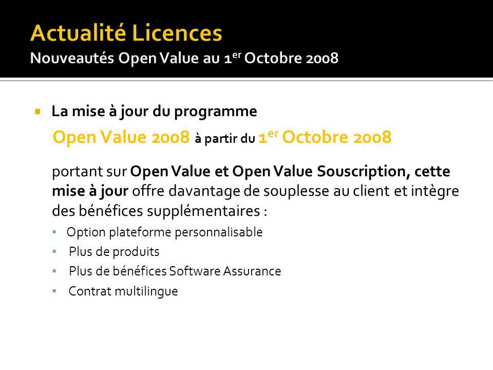 La mise à jour du programme Open Value 2008 à partir du 1 er Octobre 2008 portant sur Open Value et Open Value Souscription, cette mise à jour offre d