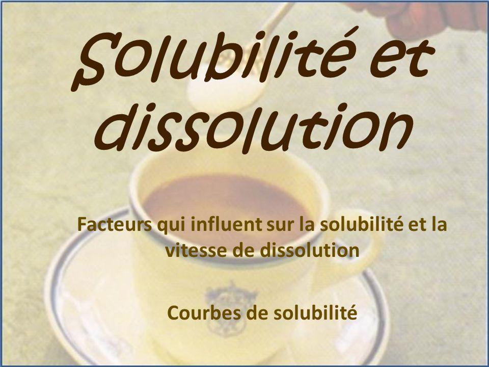 Solubilité et dissolution Facteurs qui influent sur la solubilité et la vitesse de dissolution Courbes de solubilité