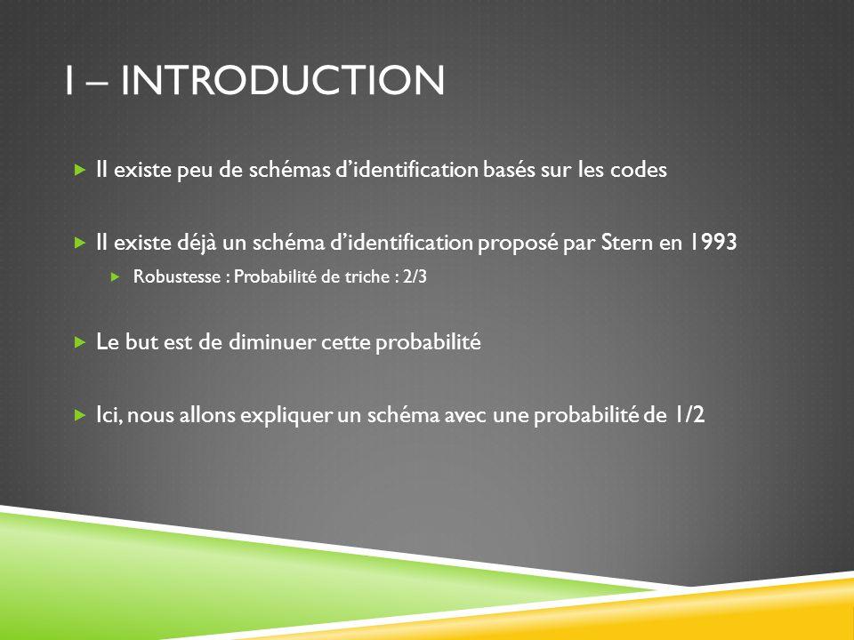 I – INTRODUCTION Il existe peu de schémas didentification basés sur les codes Il existe déjà un schéma didentification proposé par Stern en 1993 Robus