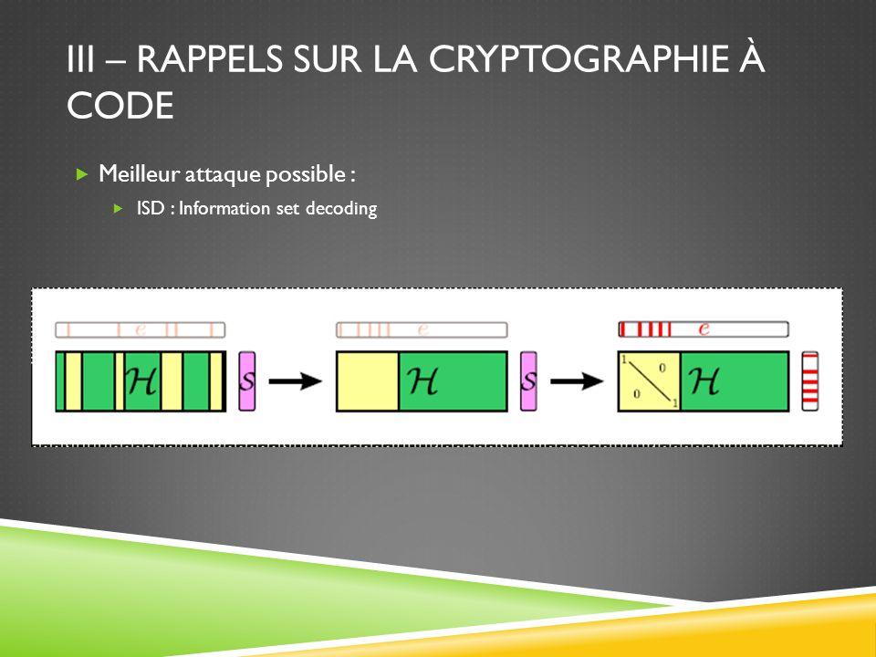 III – RAPPELS SUR LA CRYPTOGRAPHIE À CODE Meilleur attaque possible : ISD : Information set decoding
