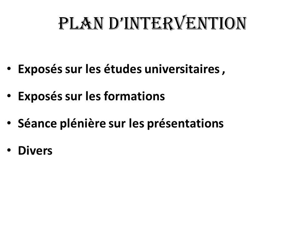 PLAN DINTERVENTION Exposés sur les études universitaires, Exposés sur les formations Séance plénière sur les présentations Divers