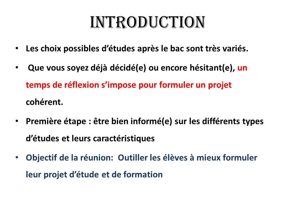 Introduction Les choix possibles détudes après le bac sont très variés.