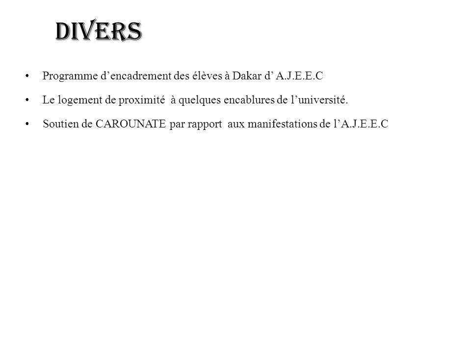 Divers Programme dencadrement des élèves à Dakar d A.J.E.E.C Le logement de proximité à quelques encablures de luniversité.