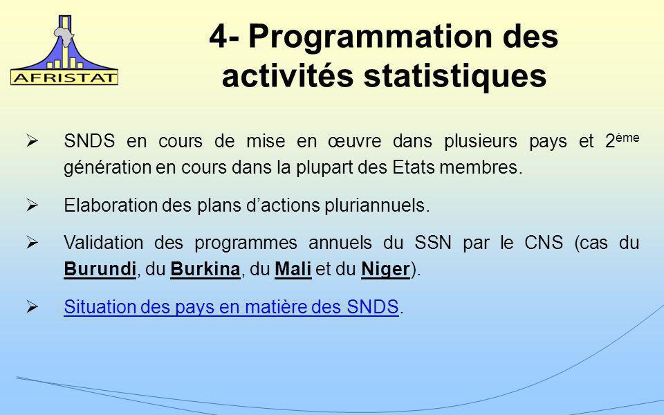 4- Programmation des activités statistiques SNDS en cours de mise en œuvre dans plusieurs pays et 2 ème génération en cours dans la plupart des Etats membres.