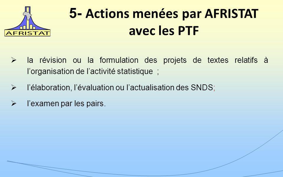 5- Actions menées par AFRISTAT avec les PTF la révision ou la formulation des projets de textes relatifs à lorganisation de lactivité statistique ; lélaboration, lévaluation ou lactualisation des SNDS; lexamen par les pairs.