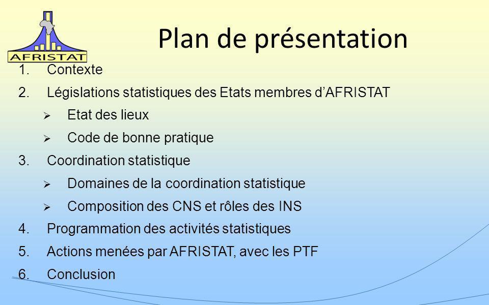 Plan de présentation 1.Contexte 2.Législations statistiques des Etats membres dAFRISTAT Etat des lieux Code de bonne pratique 3.Coordination statistiq