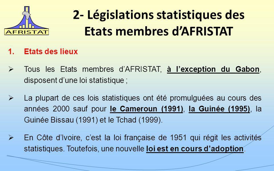 2- Législations statistiques des Etats membres dAFRISTAT 1.Etats des lieux Tous les Etats membres dAFRISTAT, à lexception du Gabon, disposent dune loi