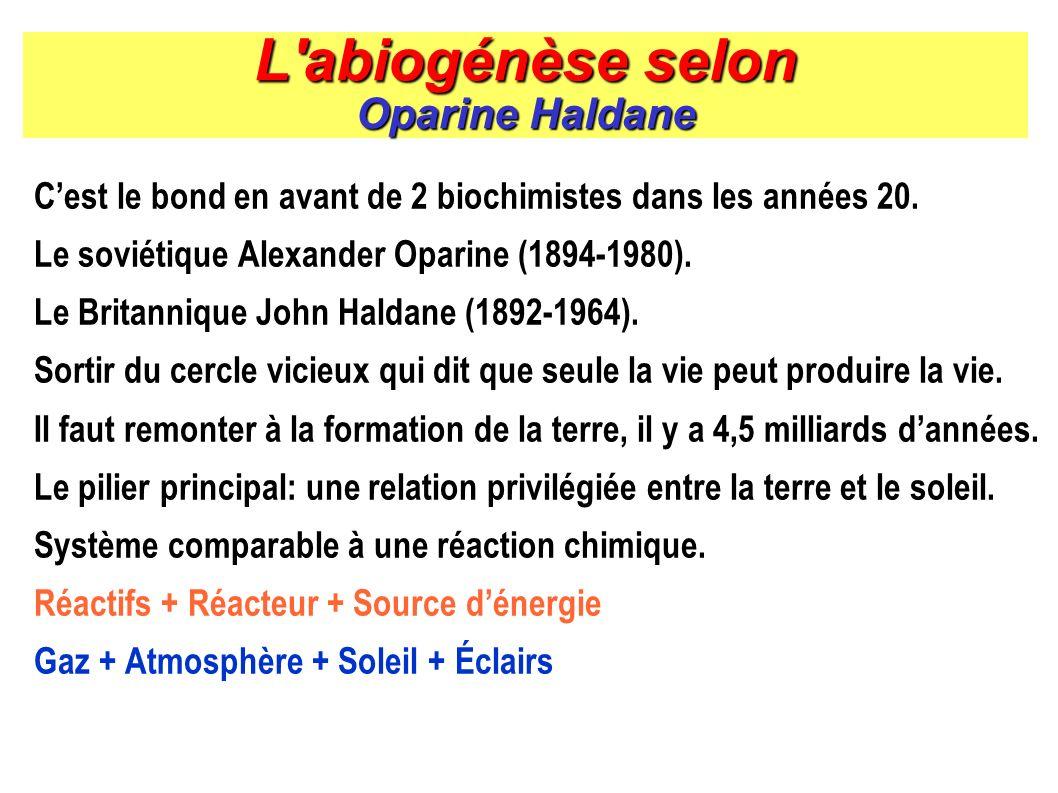L'abiogénèse selon Oparine Haldane Cest le bond en avant de 2 biochimistes dans les années 20. Le soviétique Alexander Oparine (1894-1980). Le Britann