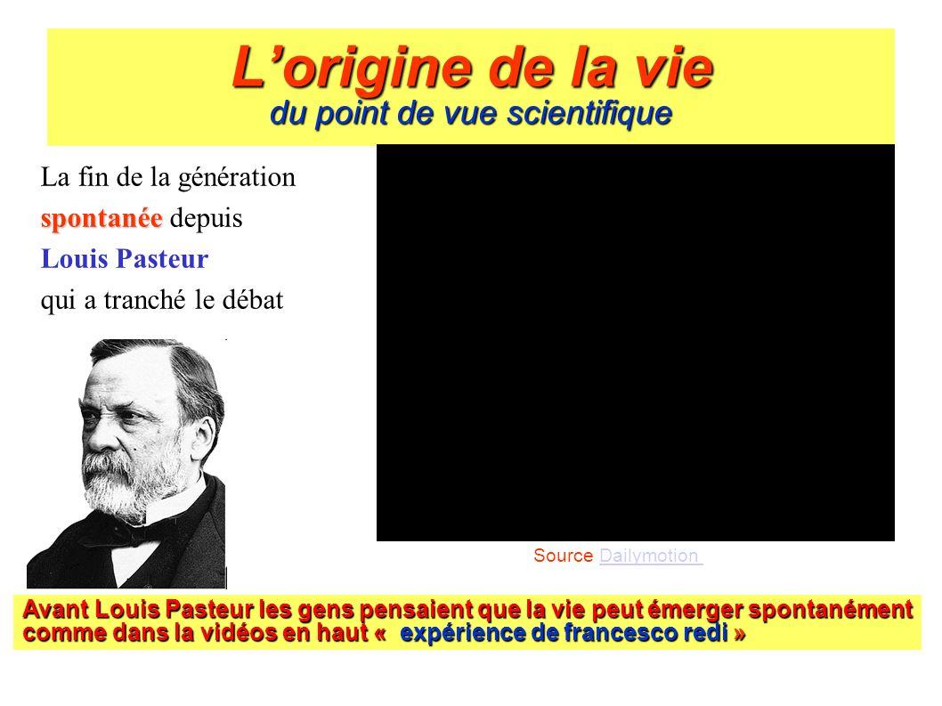 Lorigine de la vie du point de vue scientifique La fin de la génération spontanée spontanée depuis Louis Pasteur qui a tranché le débat Avant Louis Pa