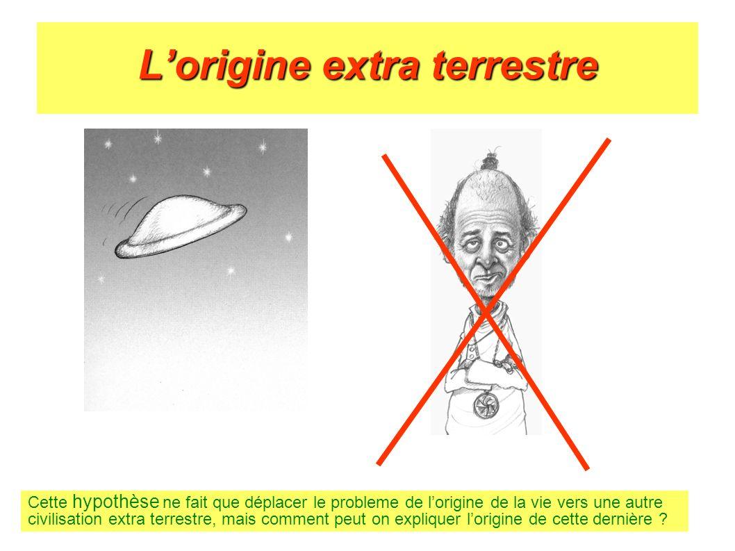 Lorigine extra terrestre Cette hypothèse ne fait que déplacer le probleme de lorigine de la vie vers une autre civilisation extra terrestre, mais comm