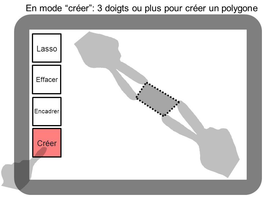Lasso En mode créer: 3 doigts ou plus pour créer un polygone Effacer Encadrer Créer