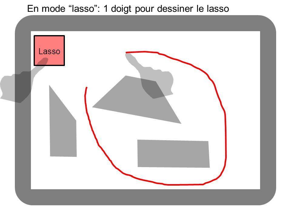 Lasso En mode lasso: 1 doigt pour dessiner le lasso