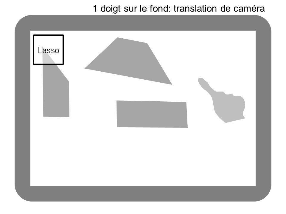 Lasso 1 doigt sur le fond: translation de caméra