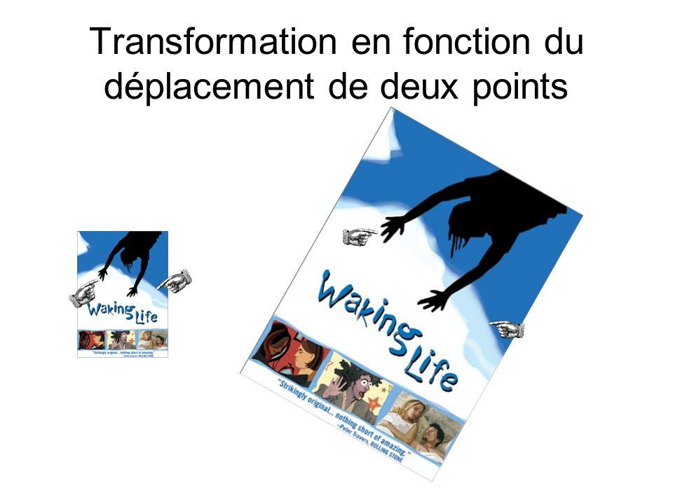 Transformation en fonction du déplacement de deux points