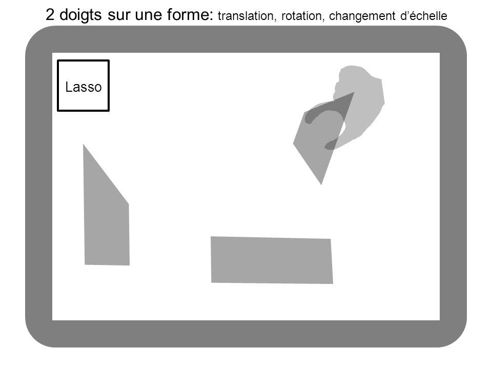 Lasso 2 doigts sur une forme: translation, rotation, changement déchelle