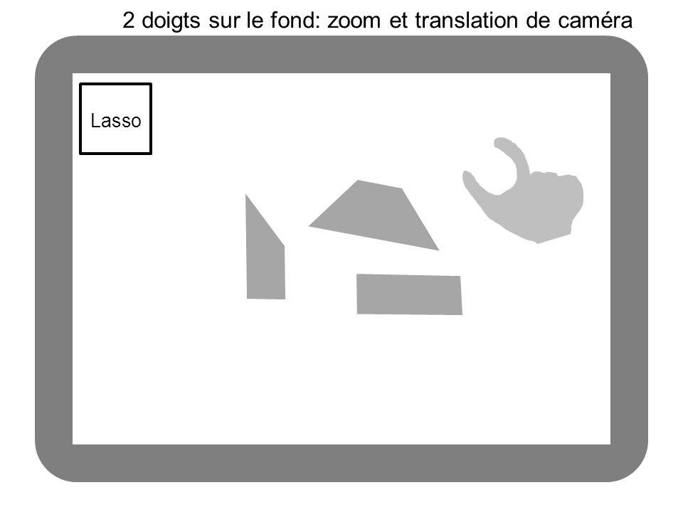 Lasso 2 doigts sur le fond: zoom et translation de caméra