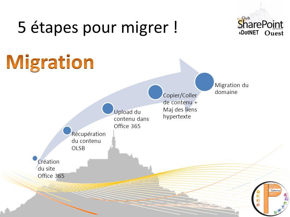 5 étapes pour migrer .