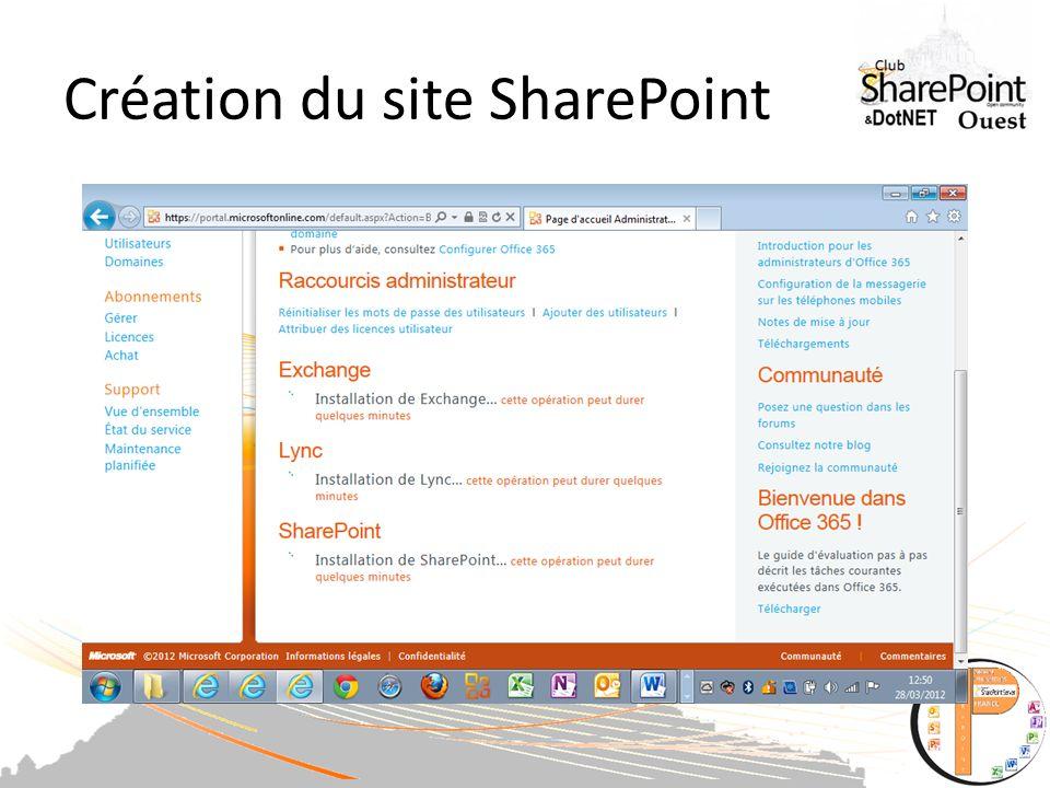 Création du site SharePoint