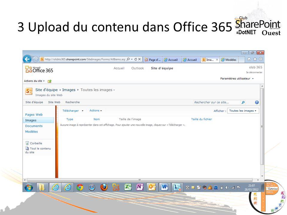 3 Upload du contenu dans Office 365