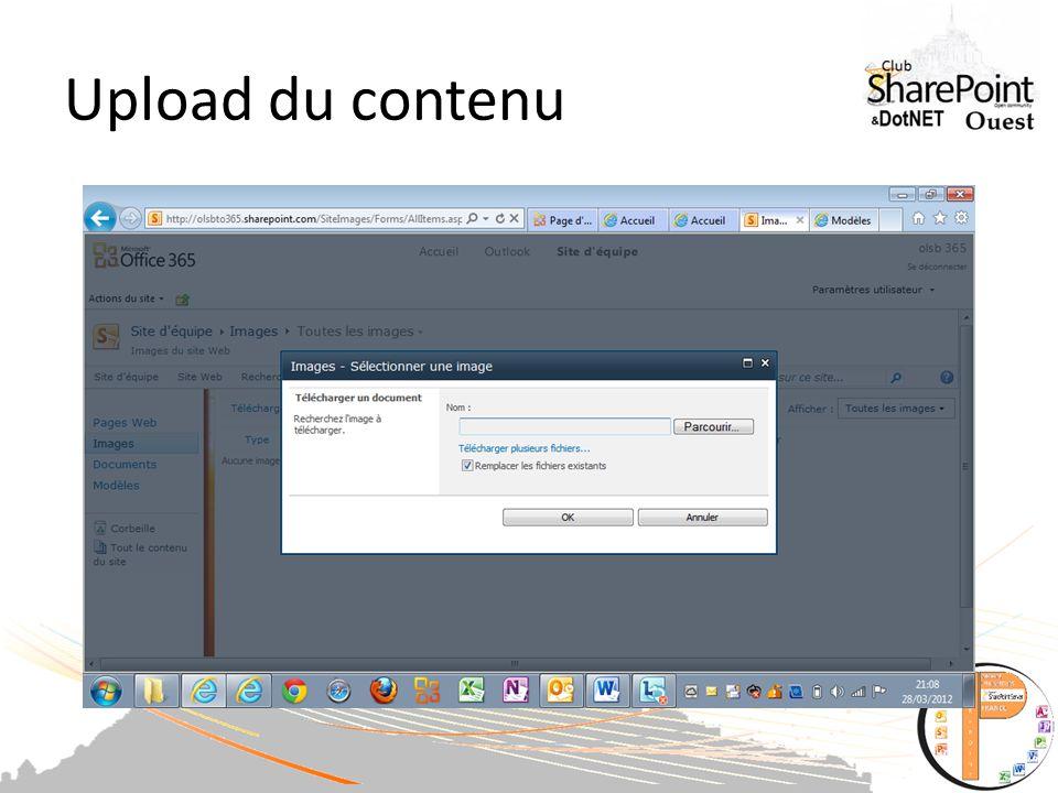Upload du contenu