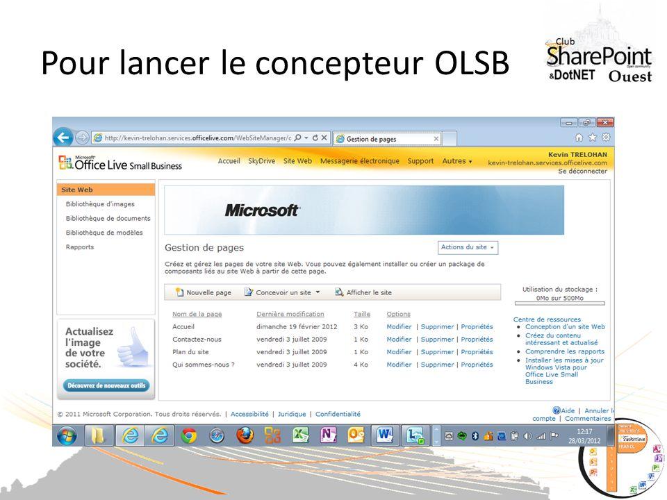 Pour lancer le concepteur OLSB