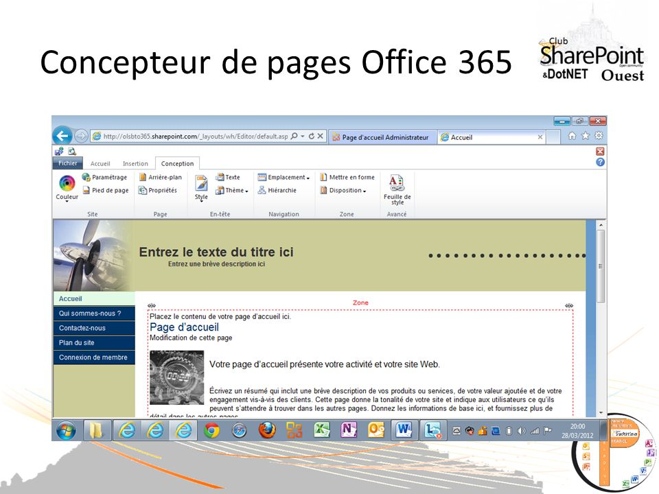 Concepteur de pages Office 365