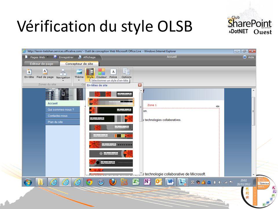 Vérification du style OLSB