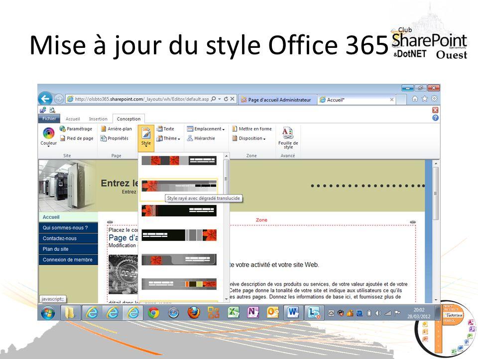 Mise à jour du style Office 365