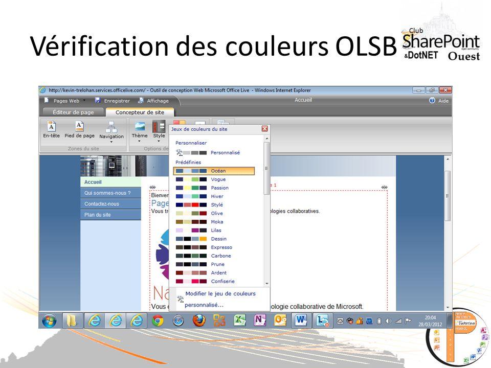 Vérification des couleurs OLSB