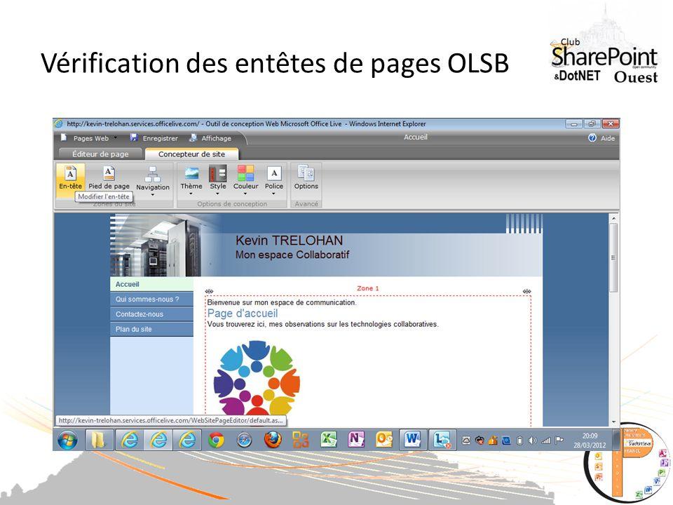 Vérification des entêtes de pages OLSB