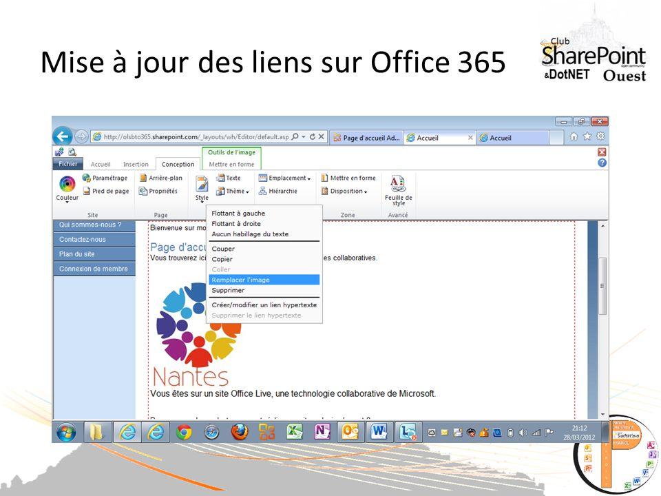 Mise à jour des liens sur Office 365