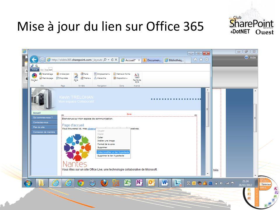 Mise à jour du lien sur Office 365