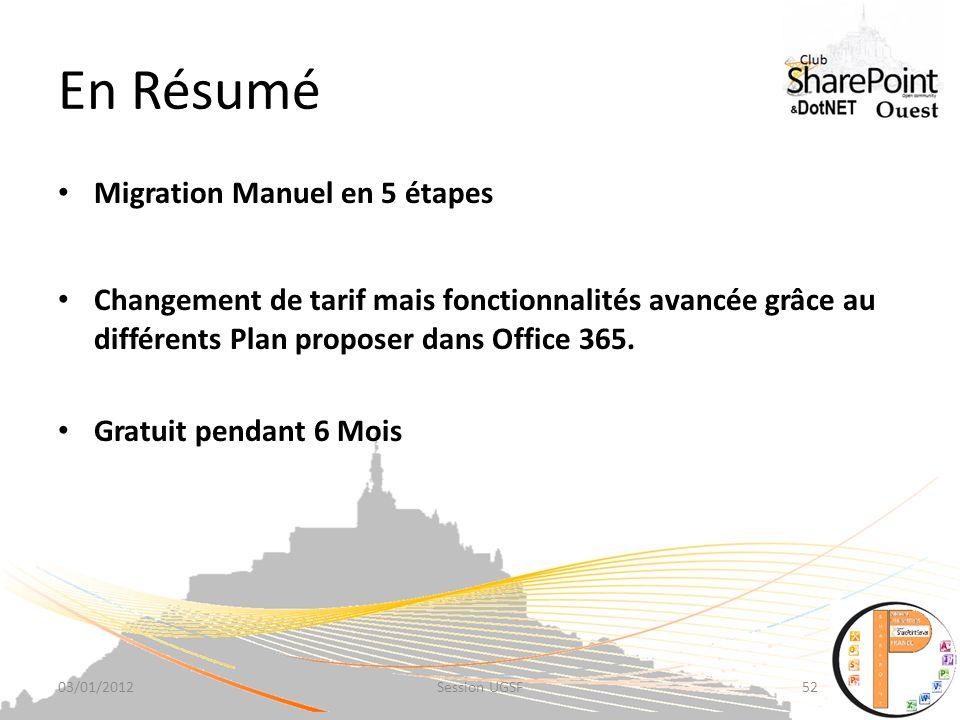 En Résumé Migration Manuel en 5 étapes Changement de tarif mais fonctionnalités avancée grâce au différents Plan proposer dans Office 365.