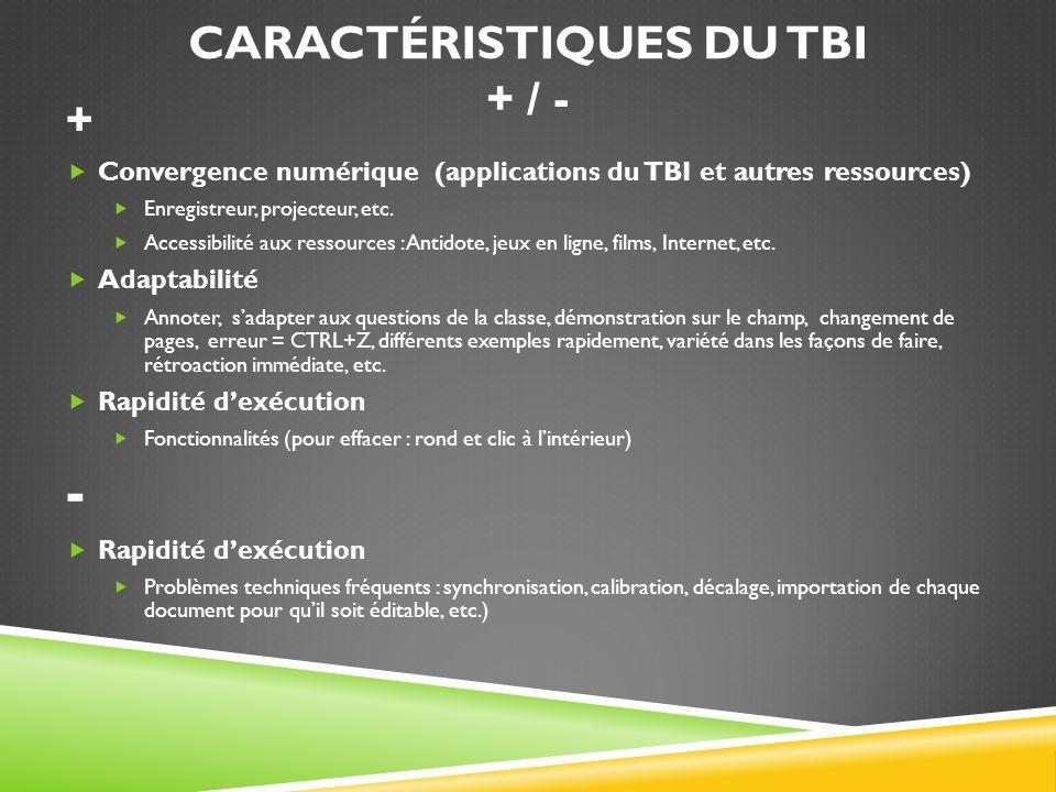 CARACTÉRISTIQUES DU TBI + / - + Convergence numérique (applications du TBI et autres ressources) Enregistreur, projecteur, etc. Accessibilité aux ress