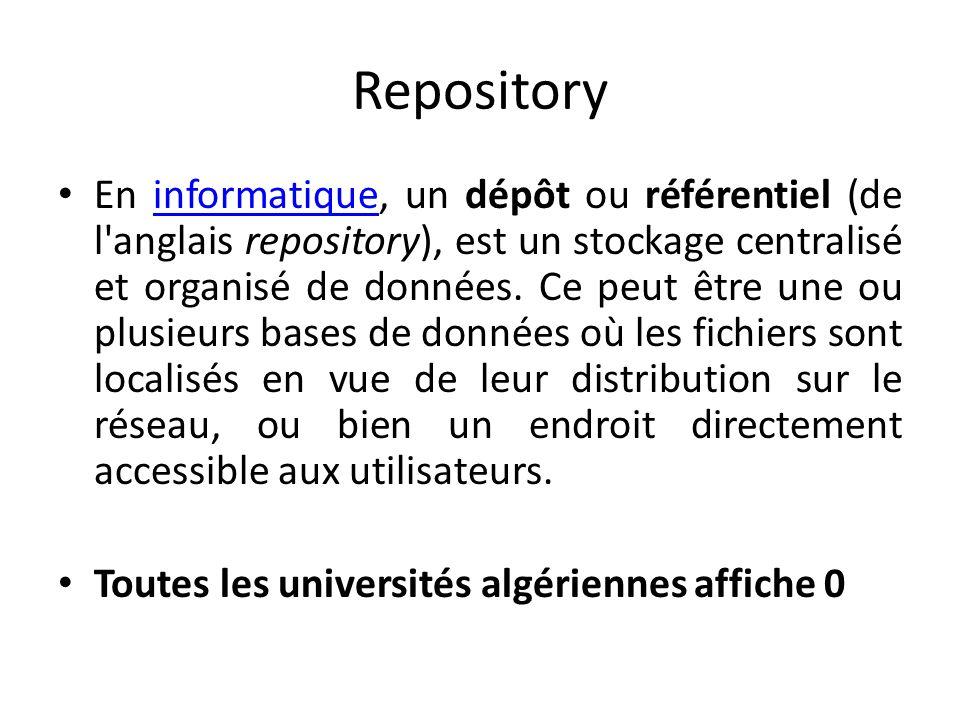 Repository En informatique, un dépôt ou référentiel (de l'anglais repository), est un stockage centralisé et organisé de données. Ce peut être une ou