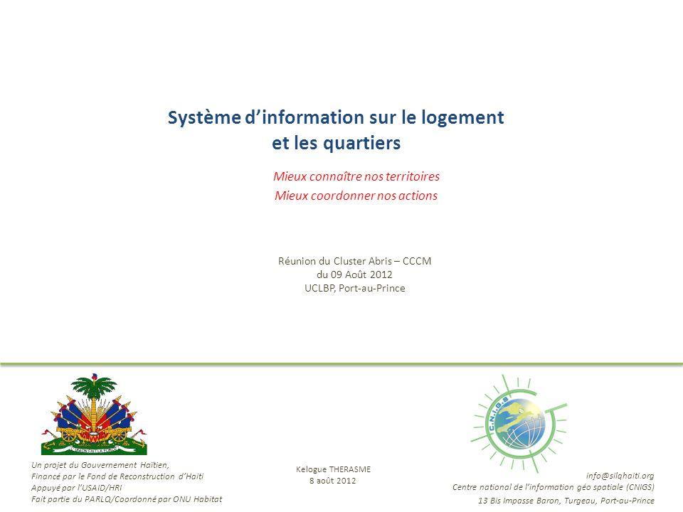Système dinformation sur le logement et les quartiers Mieux connaître nos territoires Mieux coordonner nos actions Réunion du Cluster Abris – CCCM du