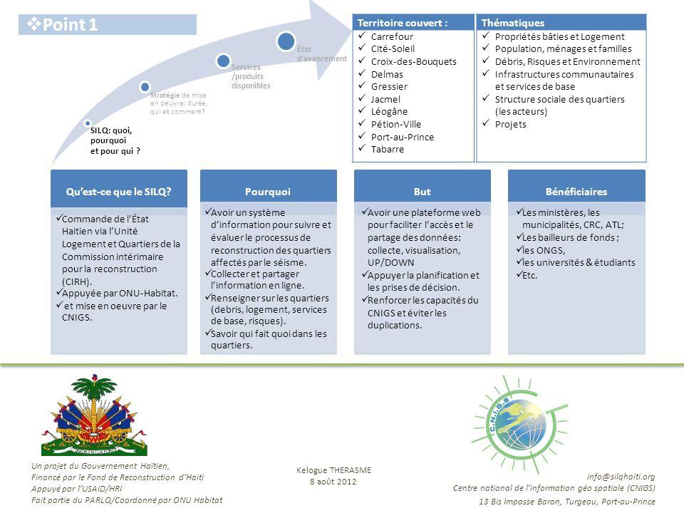 SILQ: quoi, pourquoi et pour qui ? Stratégie de mise en oeuvre: durée, qui et comment? État davancement Services /produits disponibles Point 1 Quest-c