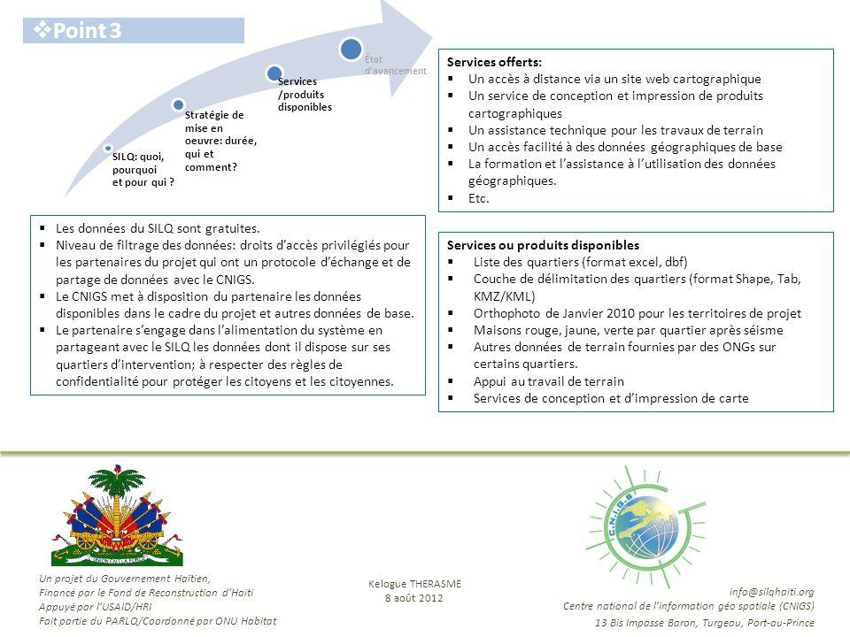 SILQ: quoi, pourquoi et pour qui ? Stratégie de mise en oeuvre: durée, qui et comment? État davancement Services /produits disponibles Point 3 Service