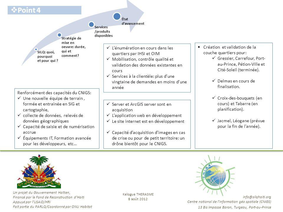 SILQ: quoi, pourquoi et pour qui ? Stratégie de mise en oeuvre: durée, qui et comment? État davancement Services /produits disponibles Point 4 Lénumér