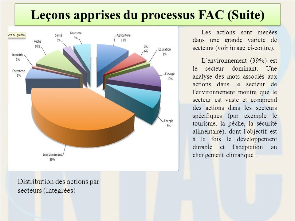 Leçons apprises du processus FAC (Suite) Les actions sont menées dans une grande variété de secteurs (voir image ci-contre).