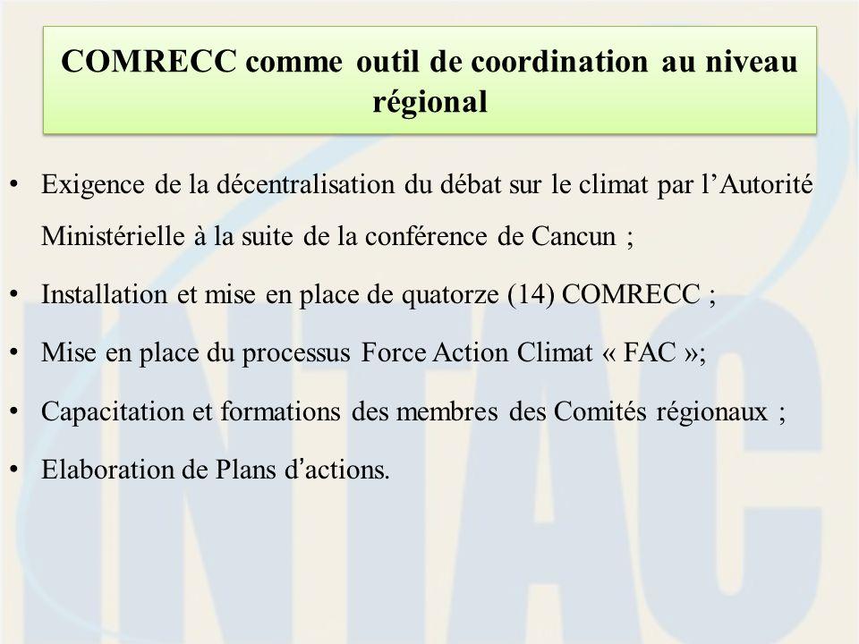 COMRECC comme outil de coordination au niveau régional Exigence de la décentralisation du débat sur le climat par lAutorité Ministérielle à la suite de la conférence de Cancun ; Installation et mise en place de quatorze (14) COMRECC ; Mise en place du processus Force Action Climat « FAC »; Capacitation et formations des membres des Comités régionaux ; Elaboration de Plans dactions.