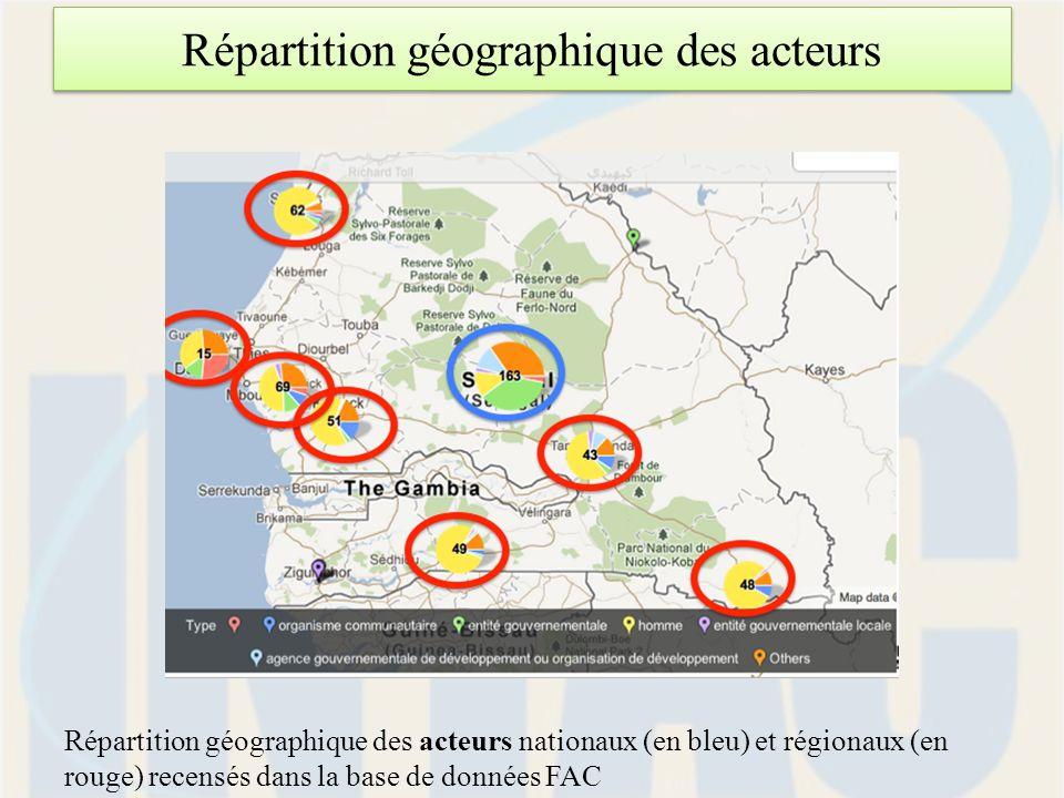 Répartition géographique des acteurs Répartition géographique des acteurs nationaux (en bleu) et régionaux (en rouge) recensés dans la base de données FAC