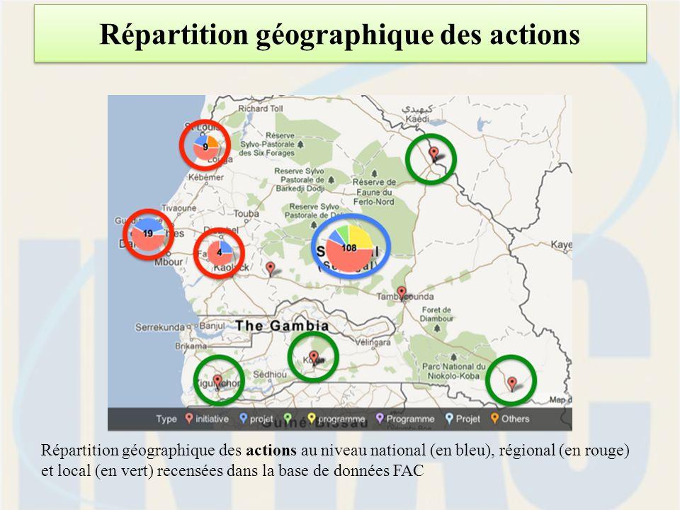 Répartition géographique des actions Répartition géographique des actions au niveau national (en bleu), régional (en rouge) et local (en vert) recensées dans la base de données FAC