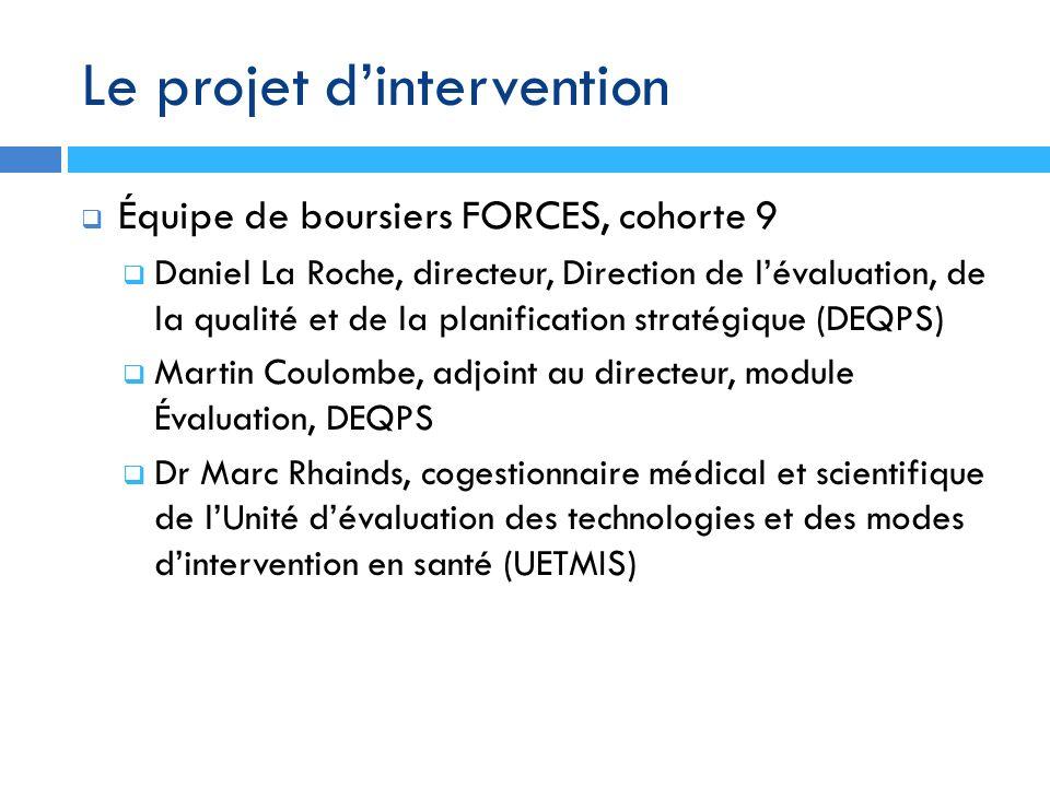 Le projet dintervention Équipe de boursiers FORCES, cohorte 9 Daniel La Roche, directeur, Direction de lévaluation, de la qualité et de la planificati