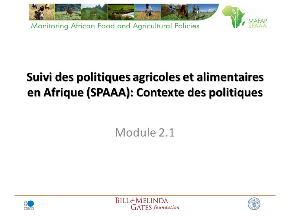 Suivi des politiques agricoles et alimentaires en Afrique (SPAAA): Contexte des politiques Module 2.1