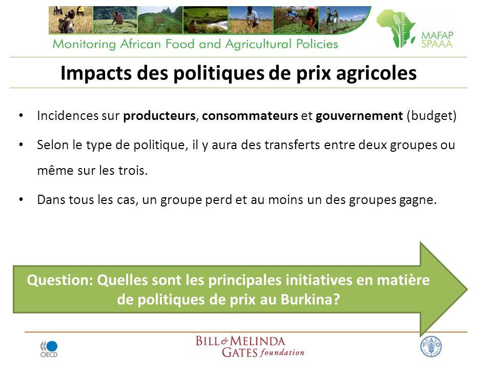 Impacts des politiques de prix agricoles Incidences sur producteurs, consommateurs et gouvernement (budget) Selon le type de politique, il y aura des transferts entre deux groupes ou même sur les trois.